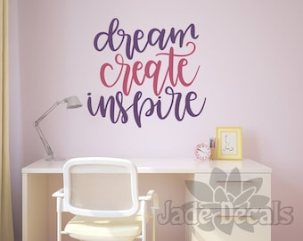 Craft room decal, play room decal, Dream create inspire, craft room decor, playroom decal