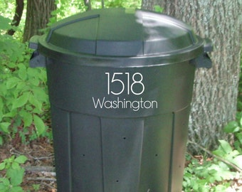 Address decal for trash can, garbage can decal, address number stickers, address stickers