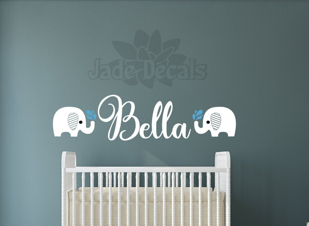 Elephant In Room That Needs To Be >> Baby Elephant Decal Name Wall Decal Elephant Wall Art Baby Room