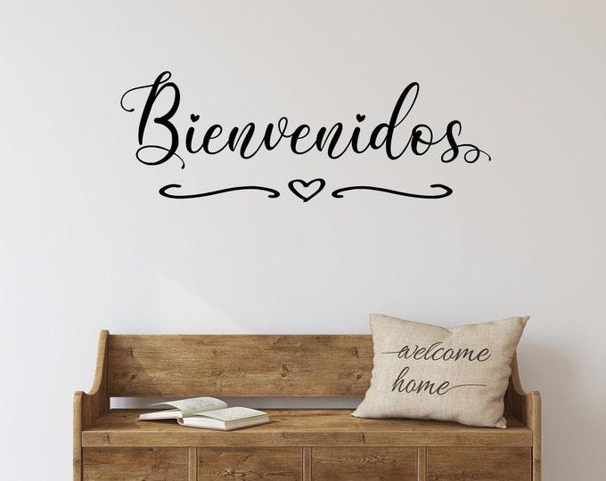 Bienvenidos welcome entryway front door decal wall decal, welcome in spanish, spanish door sign