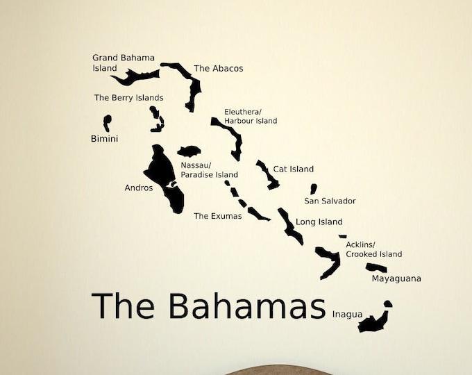 The Bahamas wall decal, Bahama Islands map, the bahamas decal