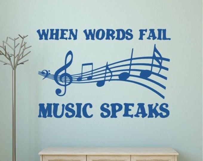 music wall decal, music teacher gift, music note decal, music gift // When words fail music speaks