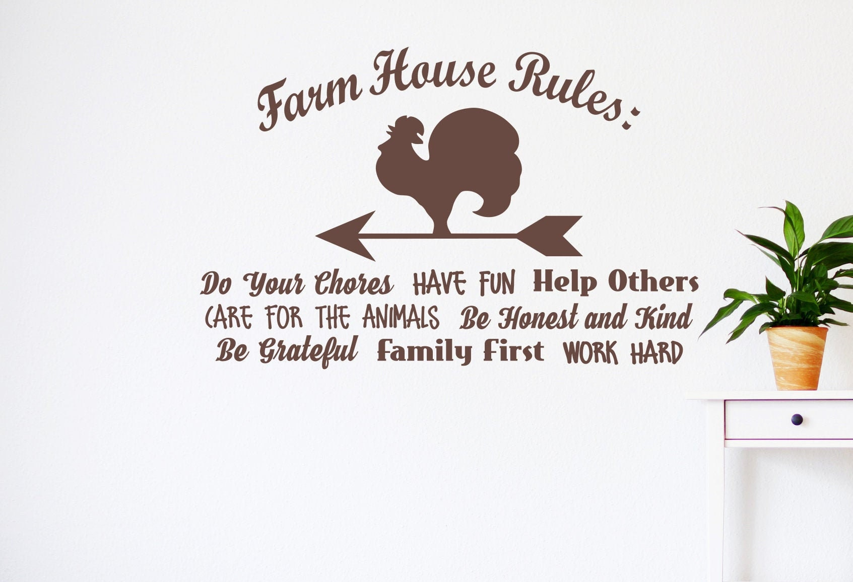 Farmhouse rules wall decal for kitchen, Farmhouse sign ...
