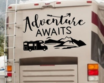 Adventure rv decal, adventure awaits, adventure time, rv travel decal, decal for rv, rv decals, rv camper decor, rv camping gifts