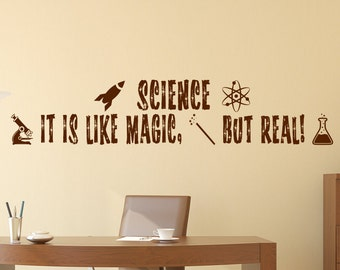 Science wall Decor, Science is like magic but real wall decal// classroom wall decor