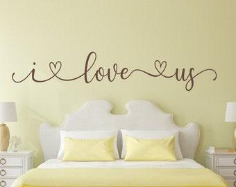 Bedroom decal, I love us, bedroom wall decal, romantic wall art, i love us decal, this is us, i love you, photo wall decal, love wall decor