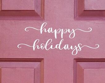 Happy Holidays door decal, christmas decals, holiday door decal
