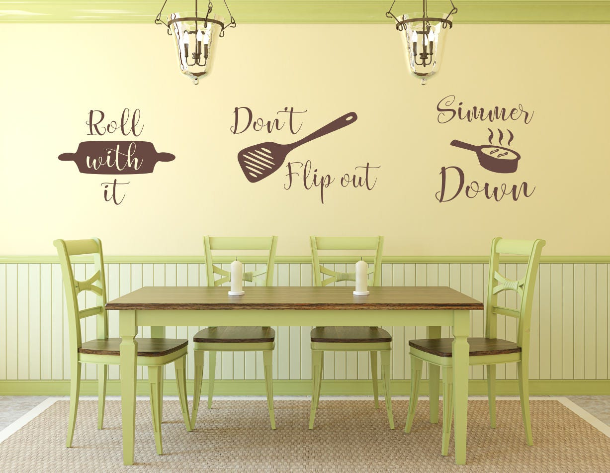 Kitchen utensil decal, kitchen utensil decor, kitchen wall decal ...