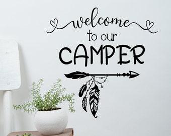 Welcome to our camper, camper door decal, Welcome to our trailer, welcome rv decal, camper decal, camper wall decal, rv door decal