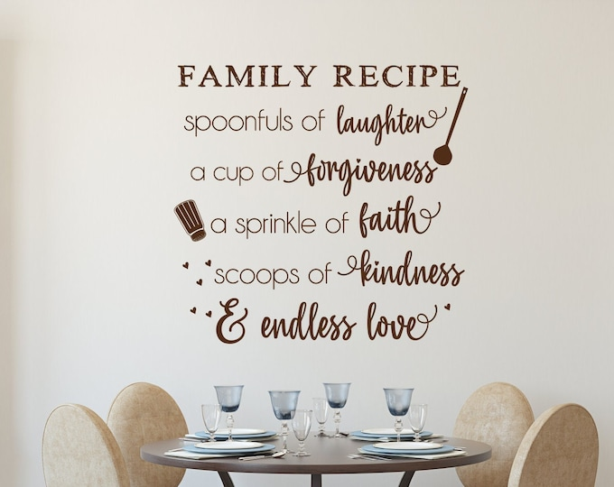 Family recipe kitchen wall art decal, dining room decor, gift for mom, pantry door decal, cute kitchen decals, farmhouse kitchen