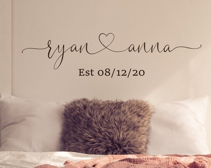 Couples wall decal, name heart name sign, couples name sign, couples name art, bedroom wall decal, master bedroom decal, established date