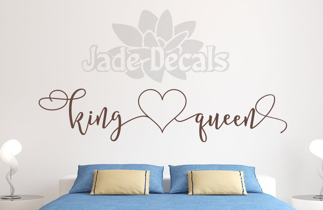 King and queen decal // master bedroom decal // headboard decal ...
