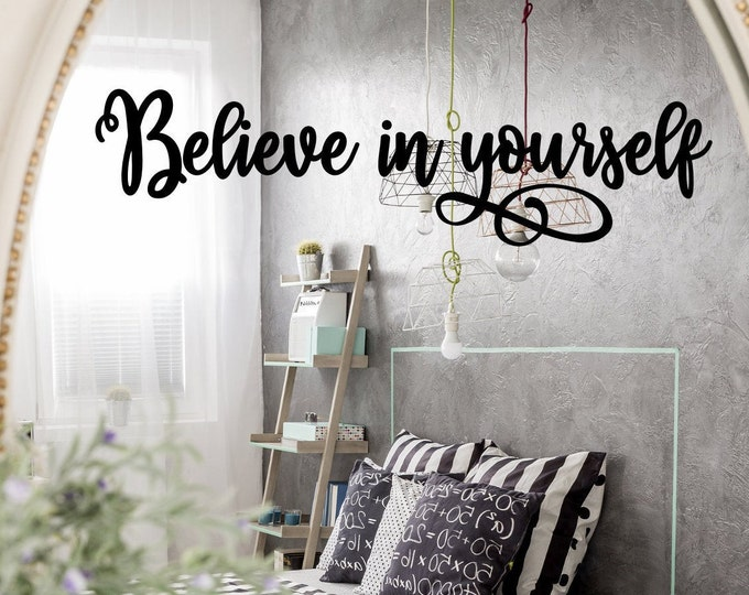 Believe in yourself mirror decal positive affirmation, laptop decal, spa bathroom decal,