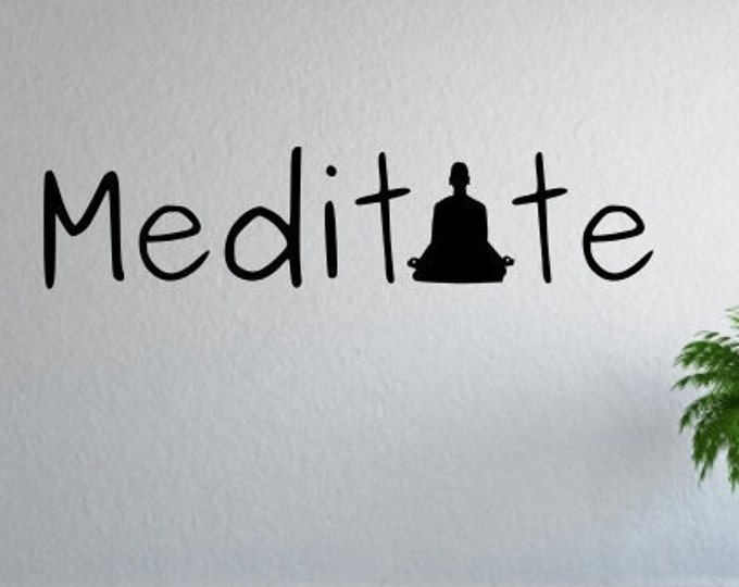 Meditate meditation mindfulness yoga decal wall decal sticker wall quote
