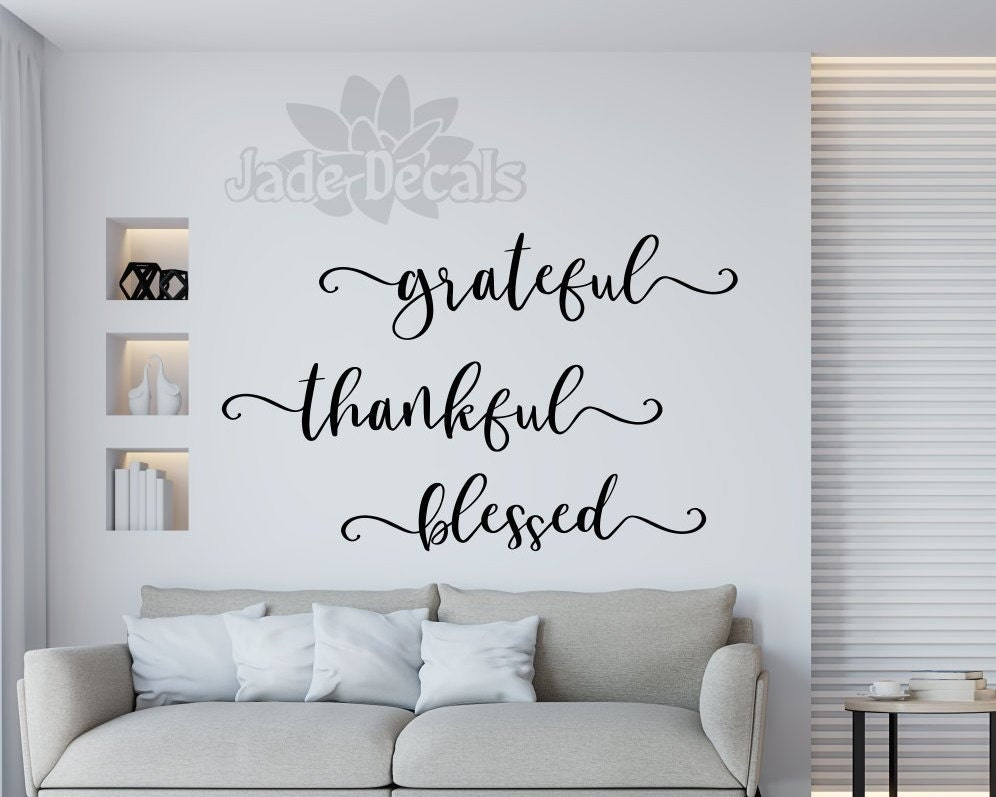 grateful /& blessed with scroll accent Wall Decal-Made in America