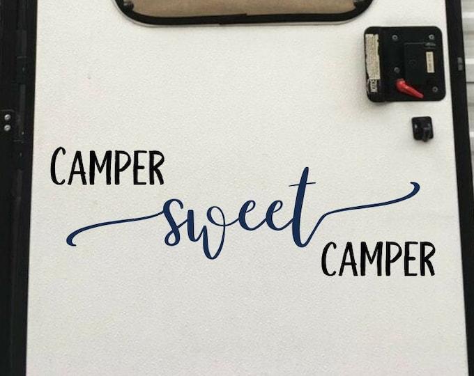 Camper sweet camper vinyl decal for rv, camper decor, camper decal, camper door decal, camper wall decal, home sweet camper, home sweet home