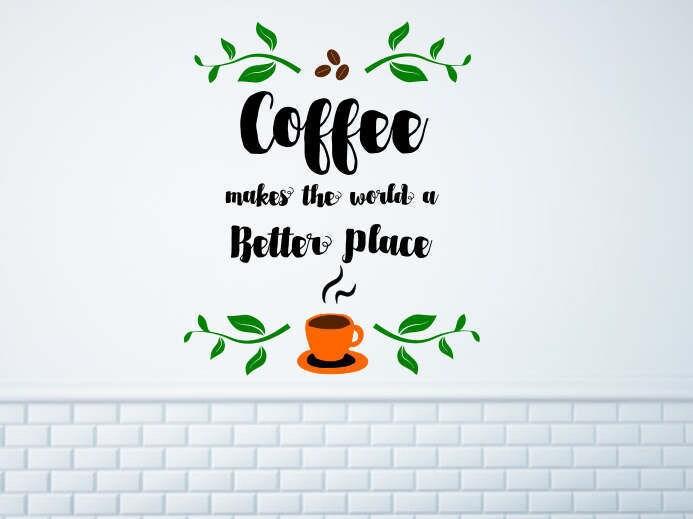Coffee wall decal, Coffee wall art, coffee vinyl decal, coffee bar ...