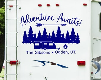 Adventure awaits, personalized rv decal, last name decal, Custom rv decal, camper decal, motorhome decal, happy campers