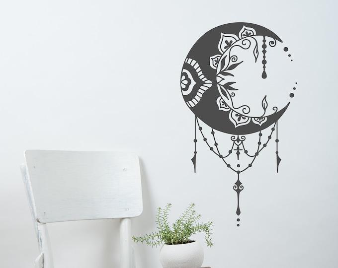 Crescent moon decal, moon wall decal, moon wall art, mandala moon, moon magic, boho moon decor