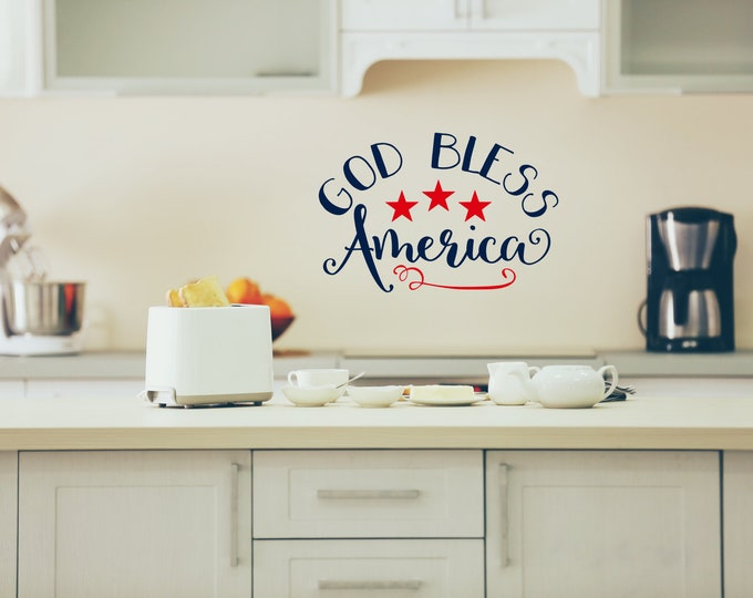 God bless America wall art decal, god bless this nest, america decal, america sticker, america quote, god bless the usa, america decor,