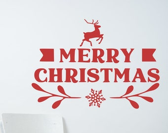 Merry Christmas window decal, front door decal, happy holidays, entryway decor,