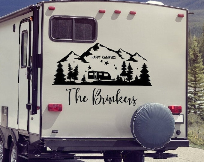 Personalized rv decal, last name decal for rv, happy campers, camper decor, motorhome decal