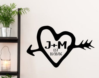 Carved initials, custom bedroom decal, established sign, heart and initials, initial decals, monogram vinyl decal, wedding decal,