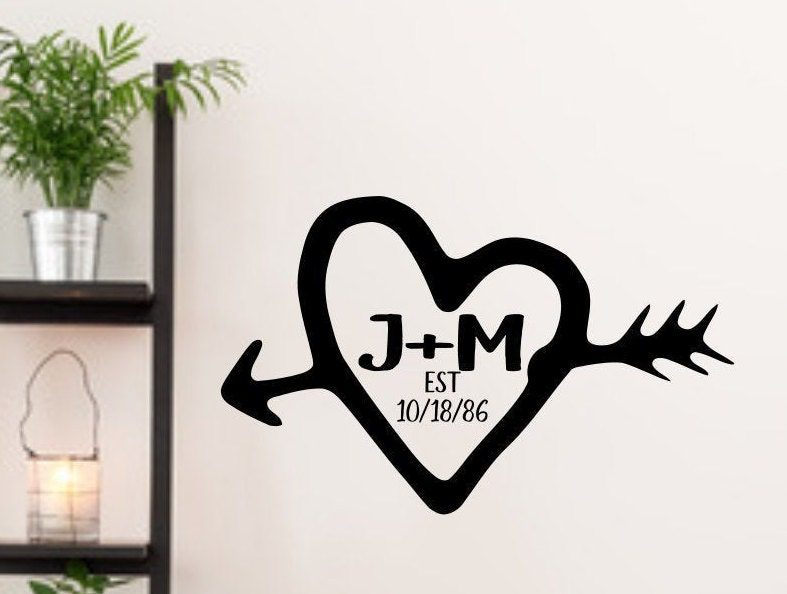 Carved Initials Custom Bedroom Decal Established Sign Heart And Initials Initial Decals Monogram Vinyl Decal Wedding Decal