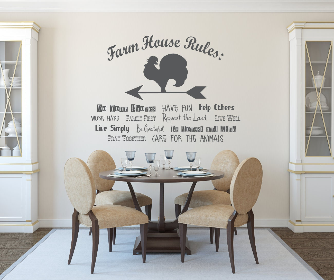 Farmhouse Wall Decal, Farmhouse Rules, Decal For Kitchen