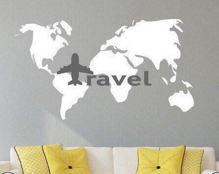 Travel Wall Decal World Map Decal World Travel Decor Travel Wall