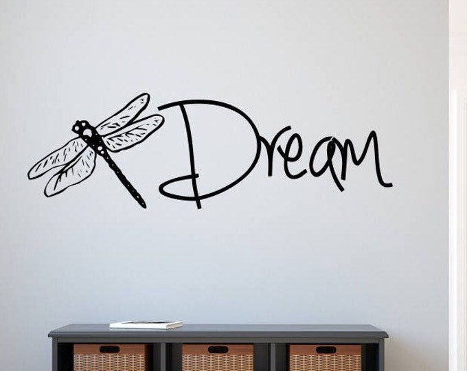 Dragonfly wall decal, dream wall decal, dragonfly wall art, dragon fly gift, dragonfly decal