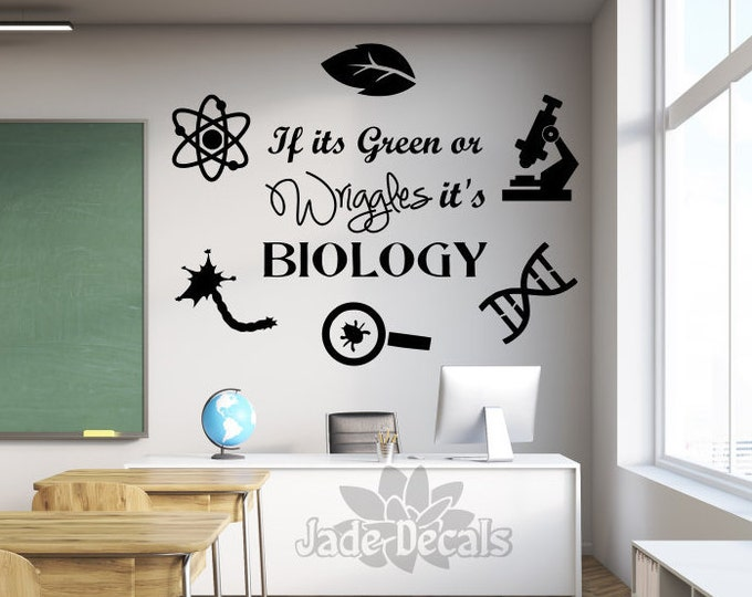 Biology wall decal, science wall decal, classroom decal // If it's green or wriggles it's biology decal, biology teacher gift