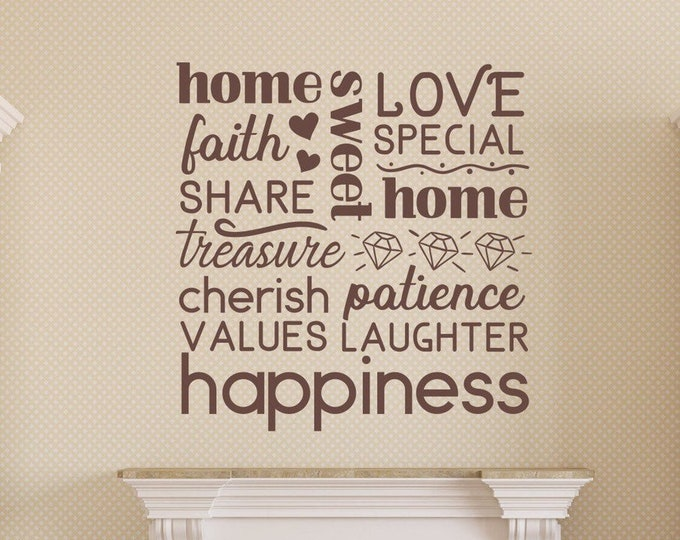 Home sweet home wall art vinyl decal, family room decor, family wall decal,
