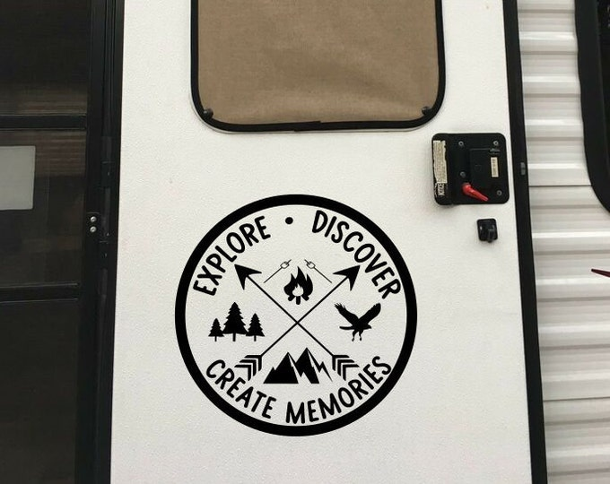 RV camper decal for RV door, tire cover decal, explore rv decal, travel rv decal, explore discover create memories, camper wall decal,