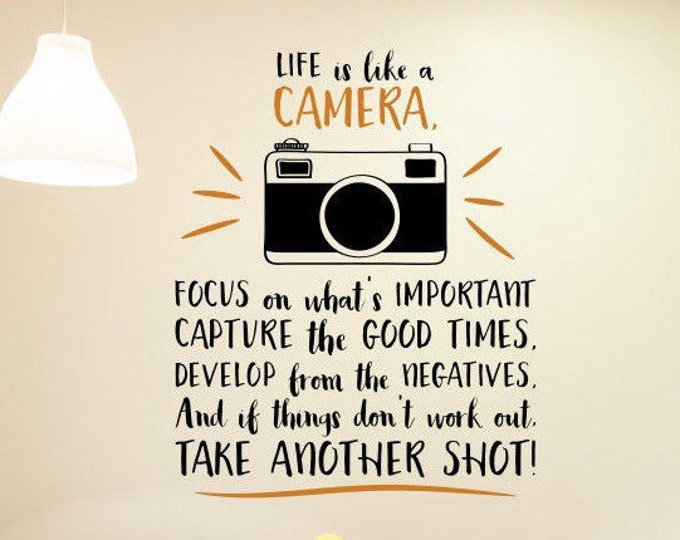 Camera wall decal, Camera wall art, photography decal, camera wall decor, photographer decal // Life is like a camera