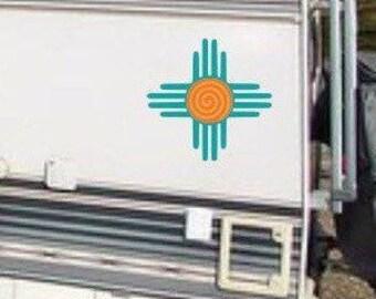 Zia rv decal, new mexico gift, Zia symbol