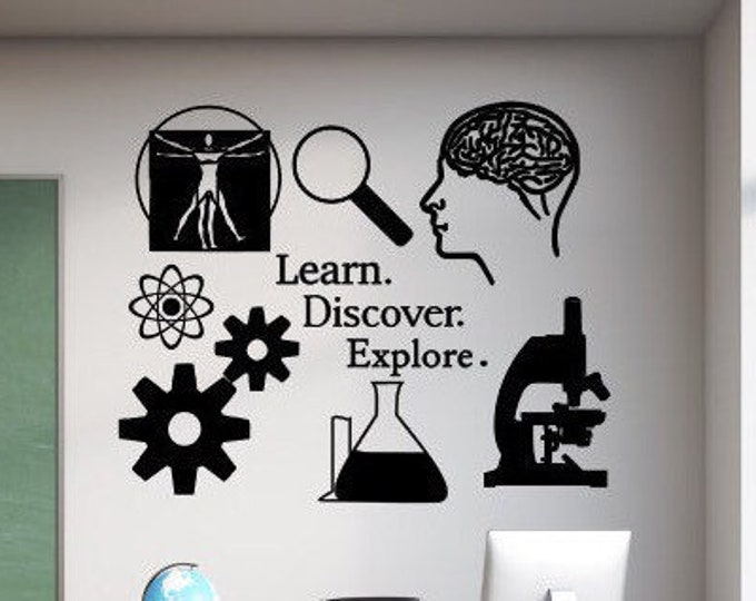 Science wall decal // Learn. Discover. Explore. // Science Classroom decal, science wall art, science decal