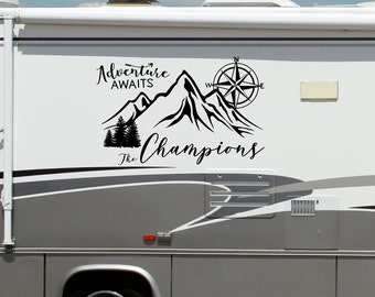 Personalized rv camper decal, adventure awaits, last name decal for rv, mountain and compass, custom rv last name, compass mountain art,