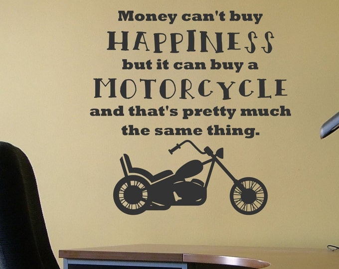 Motorcycle wall decal, wall decor, motorcycle decor, wall art, gift for dad, man cave decor, biker wall art, gift for biker