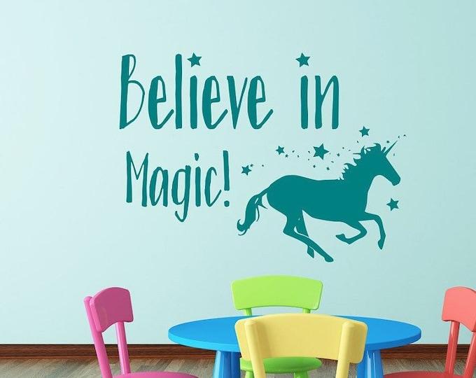 Magic Unicorn wall art decal for girls room // Believe in magic,  unicorn vinyl decal, girls room decal, unicorn wall art