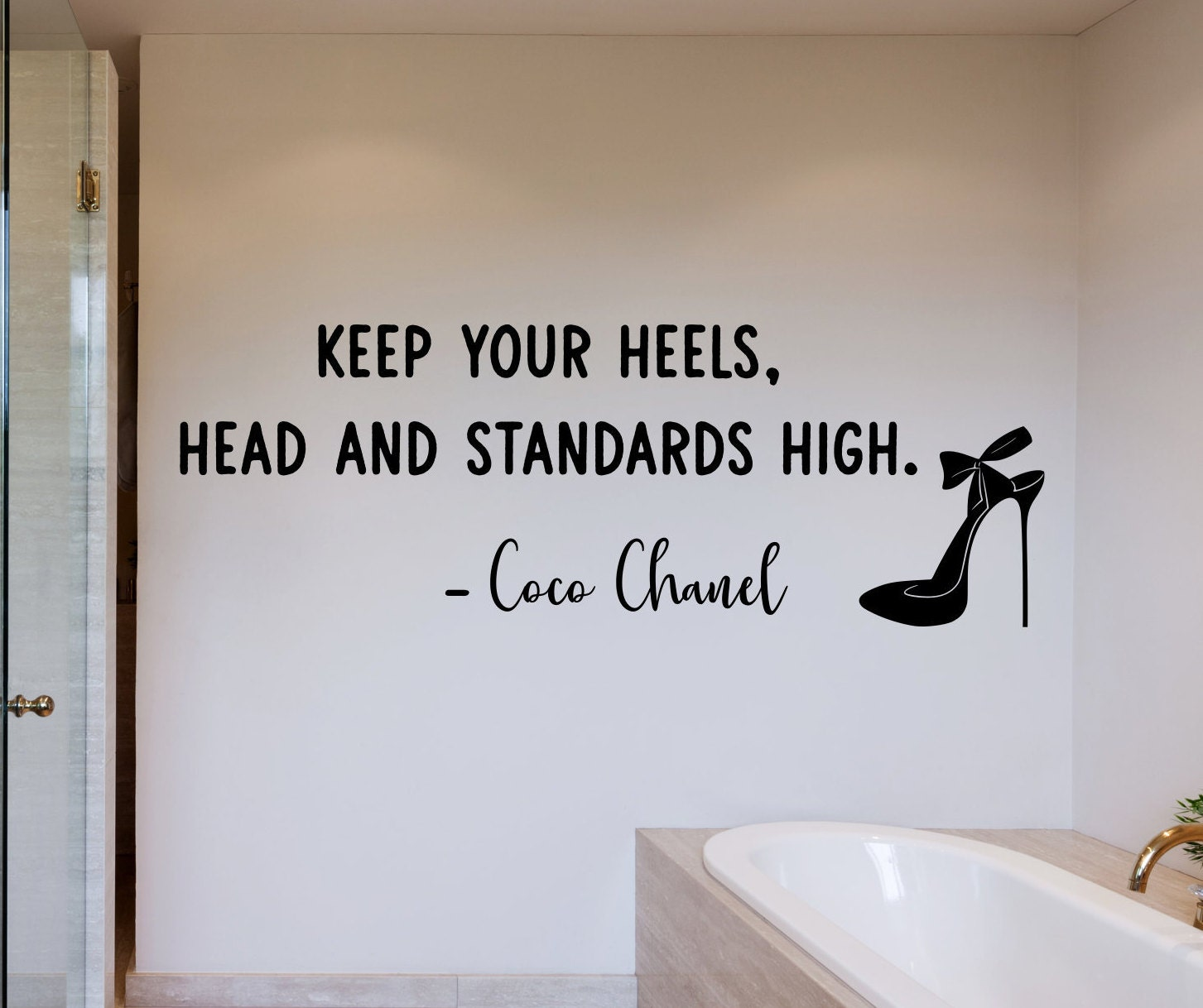 Women S Wall Art Keep Your Heels Head And Standards High Coco Chanel Quote Wall Decal Women S Empowerment