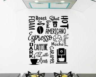 Coffee decal, Espresso subway art, coffee wall decal, kitchen wall decal, coffee shop wall art, coffee shop decor