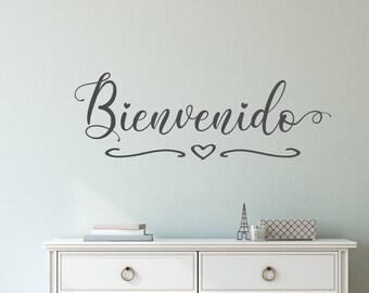 Bienvenido welcome entryway front door decal wall decal, welcome in spanish, spanish door sign