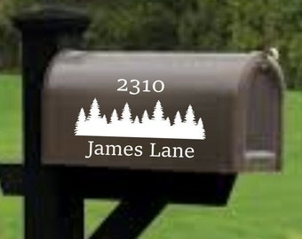 Mailbox decal, address decal, mailbox numbers, mailbox stickers, mailbox lettering, mailbox design with trees