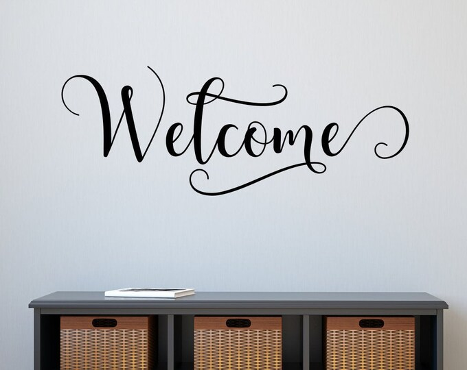 Welcome wall art vinyl decal calligraphy script lettering for entryway // welcome sign, front door decal, entryway decal, guest room decal