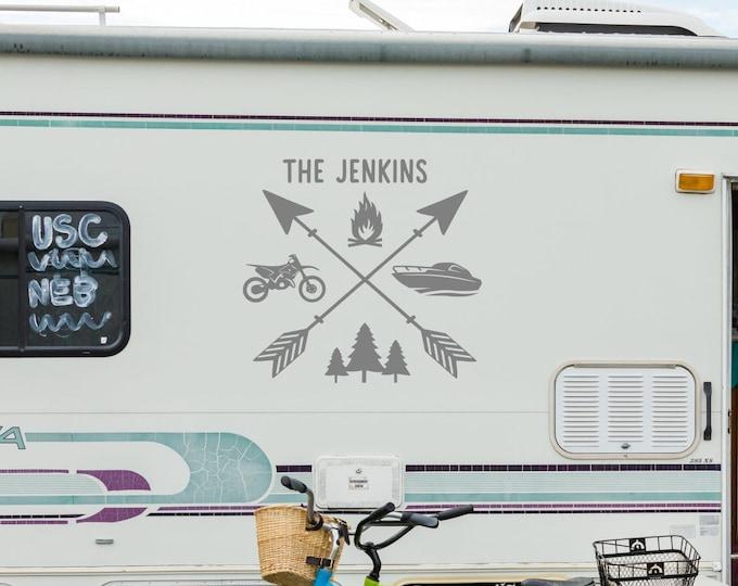 Custom arrows RV decal, custom camper decal, custom camper decor, X arrows decal, last name decal, custom name decal, RV name decal,
