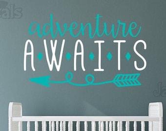 Adventure awaits nursery decal, adventure nursery, arrow nursery decor, nursery wall decal, greatest adventure