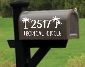 Palm Tree Mailbox decal, address decal, mailbox numbers, mailbox stickers, mailbox lettering, mailbox design