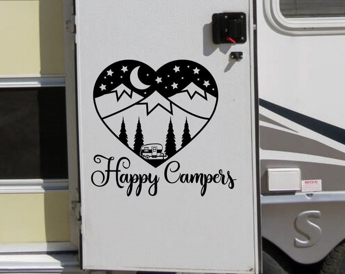 Happy Campers decal for rv or vintage camper // heart shaped vinyl rv decal with mountains, stars and forest.