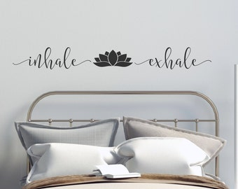 Inhale exhale decal, wall art, Inhale Exhale wall decal, breathe wall decal, yoga wall art, lotus wall decal, lotus wall decor, yoga decor